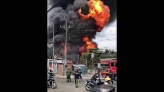 Cháy lớn kho lốp xe và phi nhớt tại dĩ an gần cây xăng vân trúc và kdc himlam phú đông