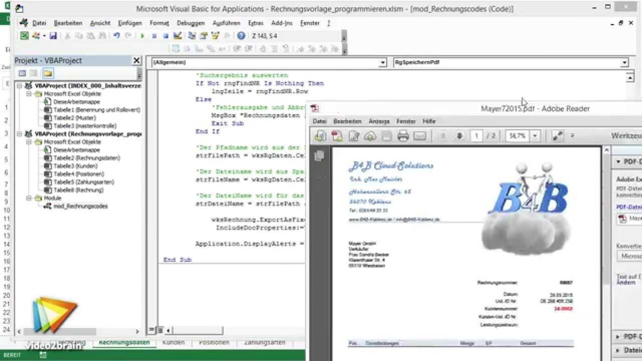 Excel Vba Workshop Komfortables Rechnungsformular Tutorial Trailer