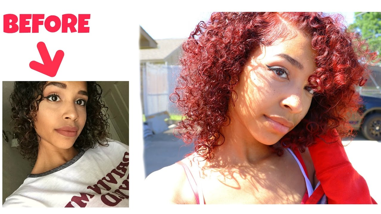 Dying My Curly Hair Red From Dark Red No Bleach Needed Youtube