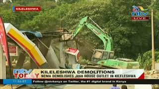 NEMA demolishes Shell petrol station and Java House outlet in Kileleshwa