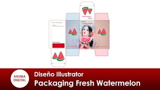 Illustrator 306 Packaging Fresh Watermelon con corte y plegado