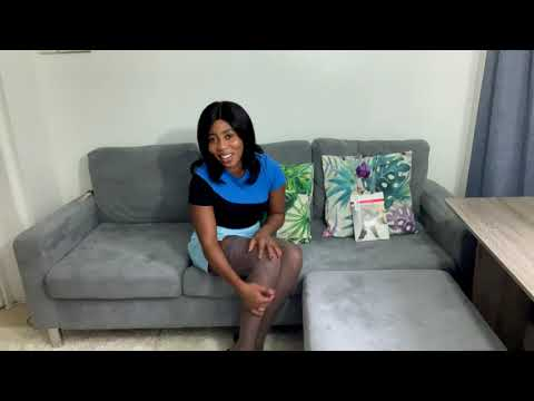 Adeola tries on Marilyn lace grey hold-ups