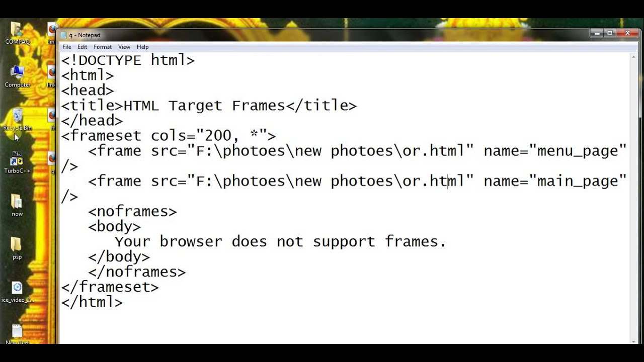 html frame\'s name and target attributes part 79 - YouTube