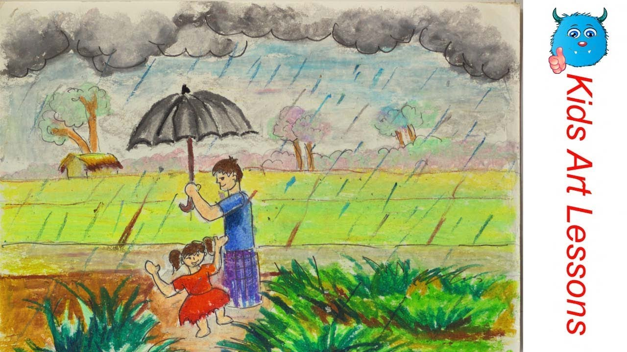 How to draw a village rainy day step by step in oil pastel