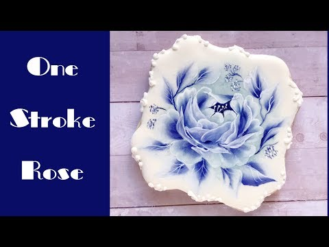 Fantasy Blue Rose Cookie. One Stroke.