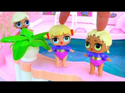 Toys Like Surprise Eggs for Kids - L.O.L. Dolls Go to the Swimming Pool and Meet a Series 2 Girl
