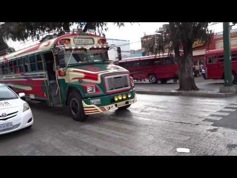Chicken buses in Guatemala City