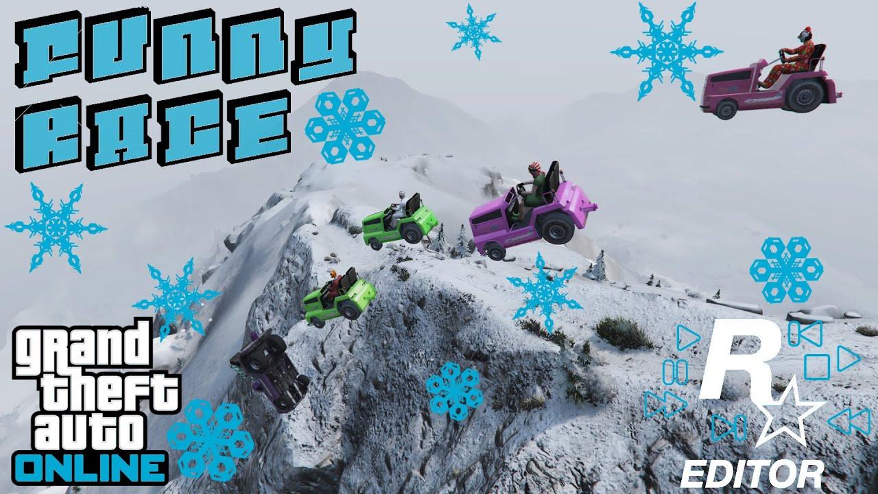 GTA 5 - FUNNY CUSTOM RACES EP07 - Rockstar Editor Snow - YouTube