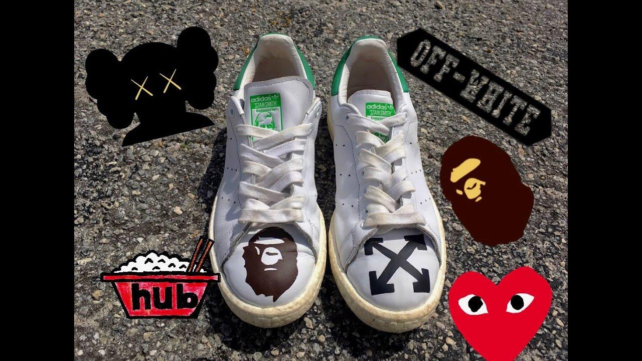 check out 6c3cf 800da Hypebeast Adidas Stan Smith Customs!! Bape x Off-White x Kaws x Comme Des  Garçons