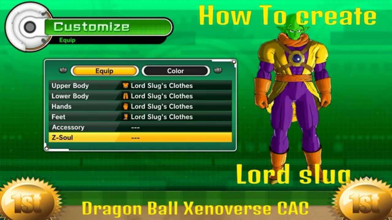 Dragon Ball Xenoverse Tutorial How To Make Lord Slug Character Creation , PS4