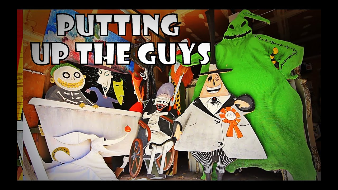 putting up the guys our nightmare before christmas decorations youtube