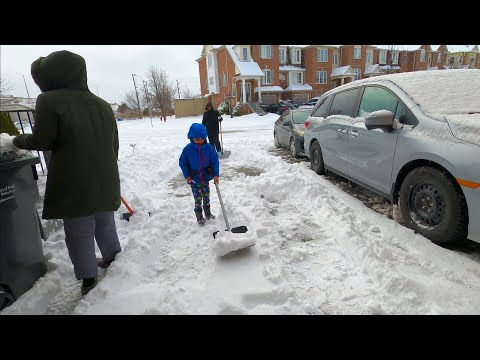 [4K] Shoveling Snow After Storm In Brampton Ontario Canada