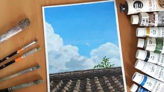 아크릴화_기와 지붕 위 뭉게구름 풍경 (Amazing …