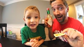 5 Year Old EATS SPICY PEPPER SAUCE!