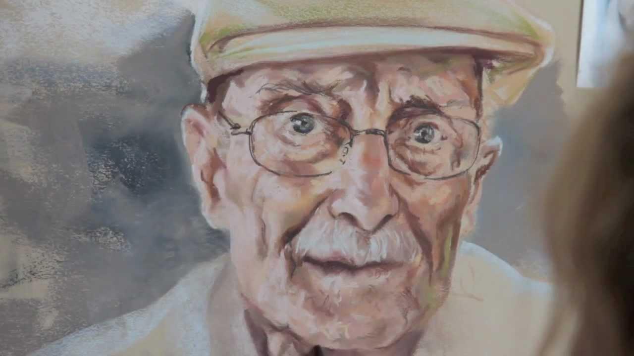 pastel portrait of an old man by graciela bombalova