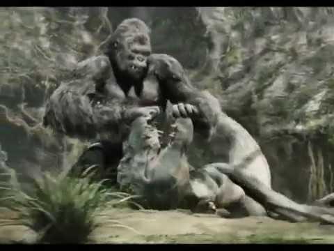 King Kong (3/10) Kong Battles the T-Rexes binatang fiksi gorila