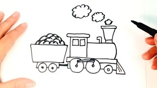 How to draw a Train for Kids | Train Easy Draw Tutorial