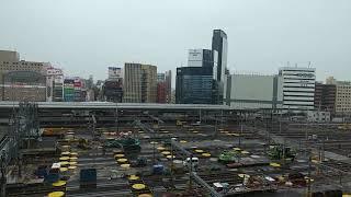 リニア中央新幹線の工事に備えるためのJR名古屋駅構内の在来線ホームの撤去作業工事 2018.9.29