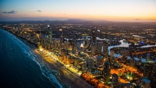 Night Aerial video of Surfers Paradise on the Gold Coast