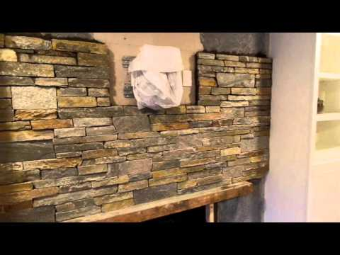 How I Stone Veneer The Fireplace Thin STONE Installation YouTube