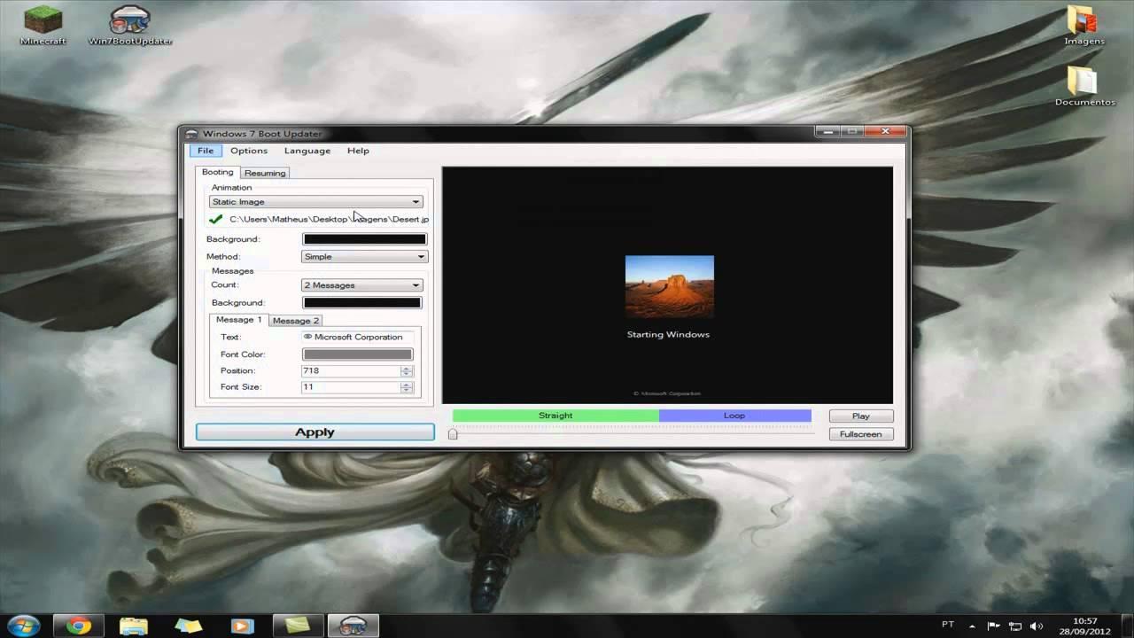 Como usar o background image -  1 Personaliza O Como Usar O Win7bootupdater