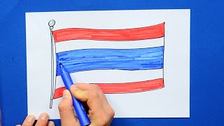How to draw and color the National Flag of Thailand