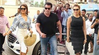 Salman Khan अपनी दोनों Gf Jacquiline और Lulia Vantur के साथ एंट्री मारी Race 3 - Allah Duhai लांच पर
