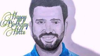 Rohit sharma birthday portrait sketch , best opener in the world