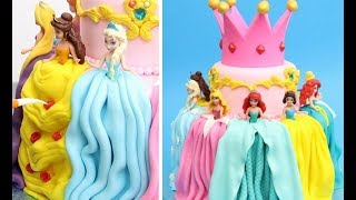 Gambar cover Adorable PRINCESS Cake with Cute Mini Disney Dolls by Cakes StepbyStep