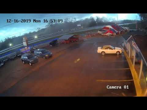Office Surveillance Cameras Capture Columbia, Mississippi Tornado