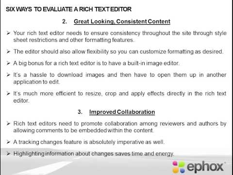 Six Ways to Evaluate a Rich Text Editor