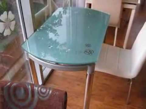 www.ctol.com.ua - Круглый стеклянный раздвижной стол (С376 голубой)