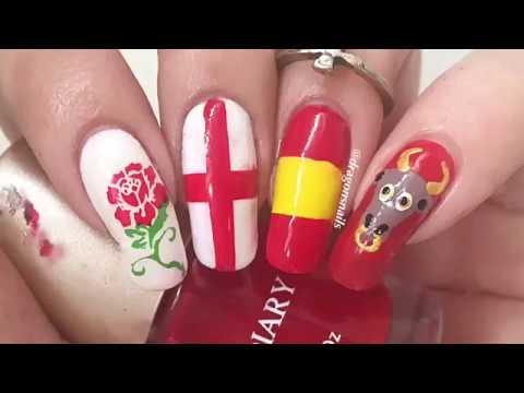 Spanish And English Flag Nail Art Tutorial Youtube