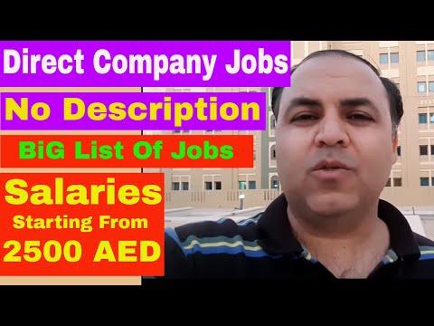 Huge List of Dubai Jobs || Salaries Minimum 2500 AED || Jobs in Dubai