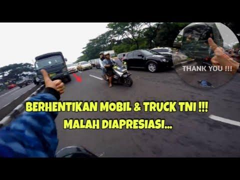 MEMBERHENTIKAN TRUCK TNI DAN MOBIL POLISI AUTO DI APRESIASI | ESCORTING AN AMBULANCE #20