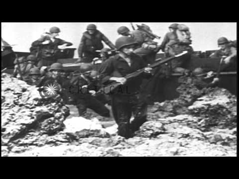 US Army troops make amphibious assault on Makin Island in World War II HD Stock Footage