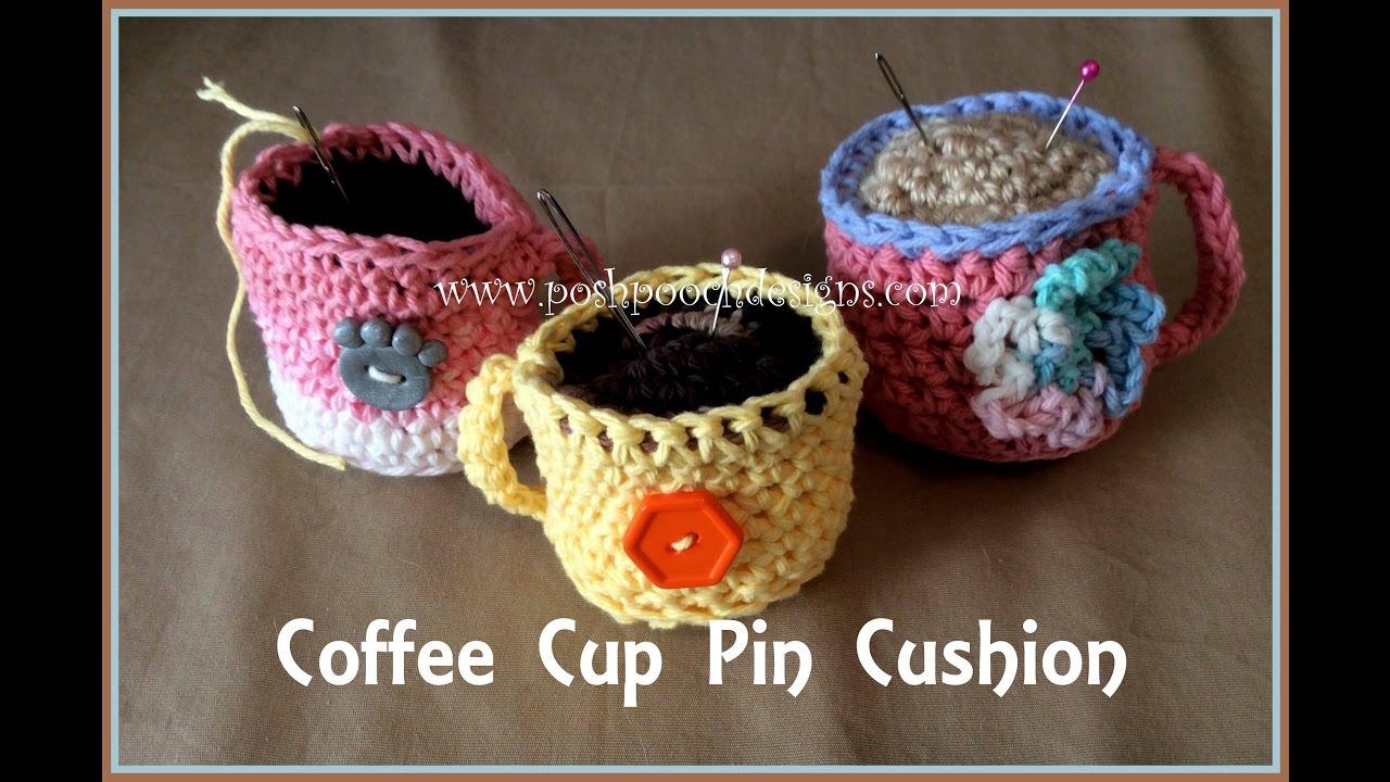 Coffee Cup Pin Cushion Crochet Pattern - YouTube