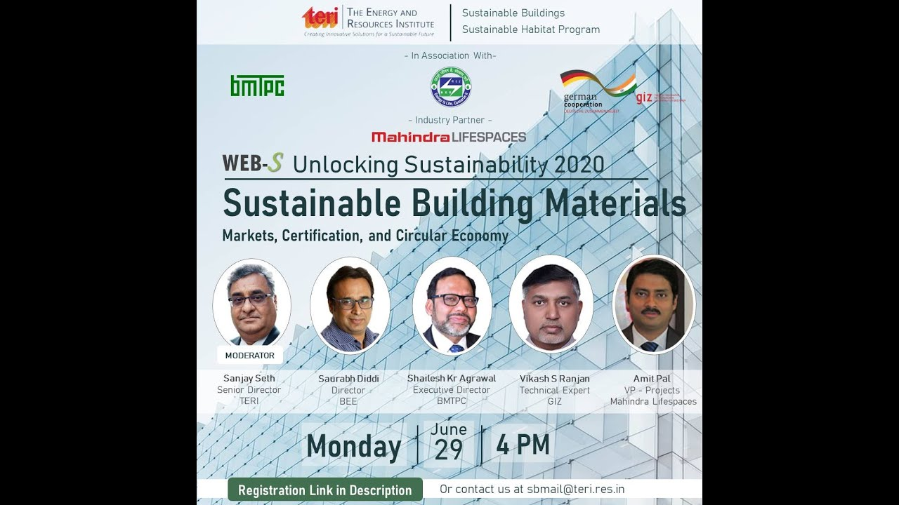 Webinar on Sustainable Building Materials: Markets, Certification and Circular Economy