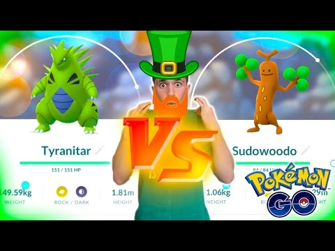 TYRANITAR VS SUDOWOODO! The St Patrick's Day Pokemon Go Challenge!
