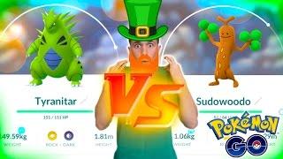 TYRANITAR VS SUDOWOODO! The St Patrick's Day Pokemon Go Challenge!