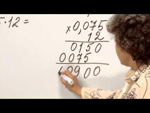 Как умножать столбиком десятичные числа