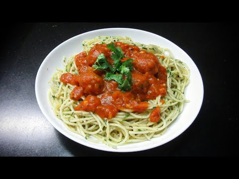 Spaghetti with Vegetable Balls - Vegetarian Recipe - How to make Spaghetti - Bolognese style sauce