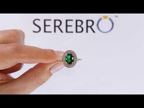 Кольцо серебряное с изумрудом нано Камелия ПДК66НИ