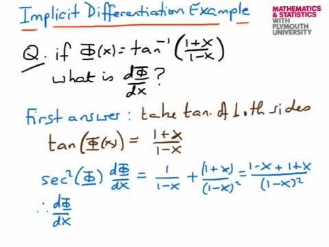 Implicit Differentiation Example4 Youtube