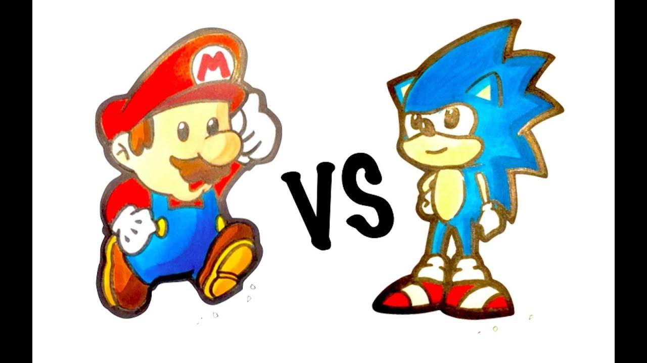 Mario Vs Sonic Easy Drawing