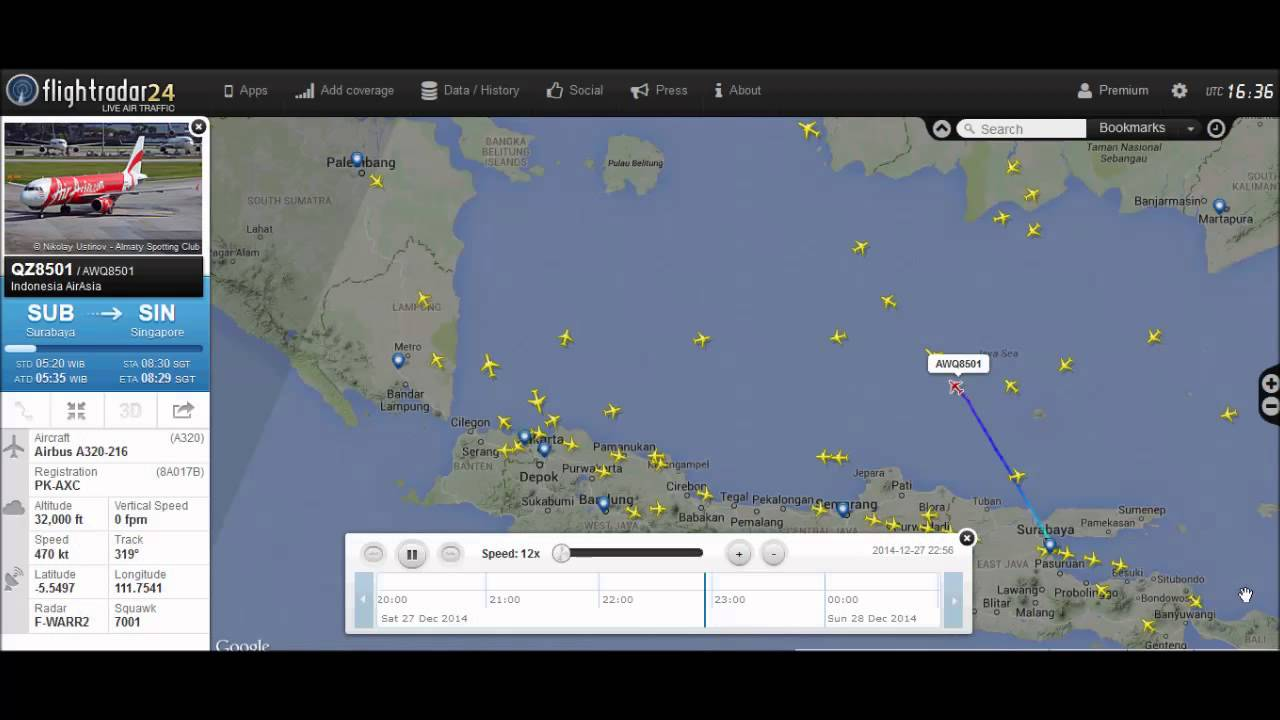 Airasia flight QZ8501 flight radar playback - YouTube