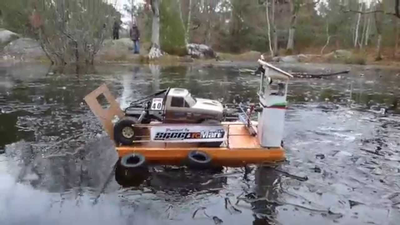 Rc How Crossing An Iced River Extreme Scale Water Boat Scx10 Crash
