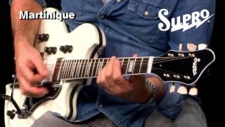 Open Box Supro® Guitarra Eléctrica 1593EW Martinique Blanco video