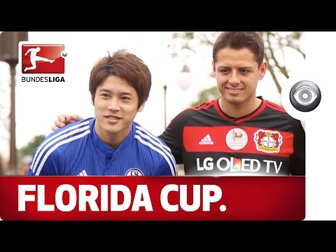 "Javier ""Chicharito"" Hernández and Atsuto Uchida take part in the Disney Parade in Orlando, Florida"