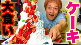【大食い】手作りケーキに本気の大感動‼️ウェディングケーキ他スイーツ(4.5kg)の大食いがただただ幸せでしかなかった‼️【マックス鈴木】